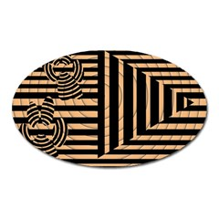 Wooden Pause Play Paws Abstract Oparton Line Roulette Spin Oval Magnet by BangZart