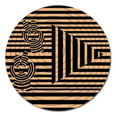 Wooden Pause Play Paws Abstract Oparton Line Roulette Spin Magnet 5  (round) by BangZart