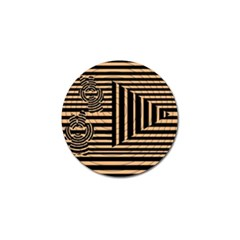 Wooden Pause Play Paws Abstract Oparton Line Roulette Spin Golf Ball Marker (4 Pack)