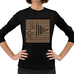 Wooden Pause Play Paws Abstract Oparton Line Roulette Spin Women s Long Sleeve Dark T Shirts by BangZart
