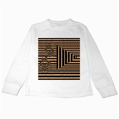 Wooden Pause Play Paws Abstract Oparton Line Roulette Spin Kids Long Sleeve T Shirts