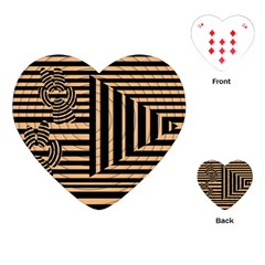Wooden Pause Play Paws Abstract Oparton Line Roulette Spin Playing Cards (heart)  by BangZart