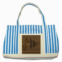 Wooden Pause Play Paws Abstract Oparton Line Roulette Spin Striped Blue Tote Bag by BangZart