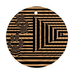 Wooden Pause Play Paws Abstract Oparton Line Roulette Spin Round Ornament (two Sides) by BangZart
