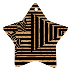 Wooden Pause Play Paws Abstract Oparton Line Roulette Spin Star Ornament (two Sides) by BangZart