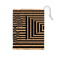 Wooden Pause Play Paws Abstract Oparton Line Roulette Spin Drawstring Pouches (large)  by BangZart