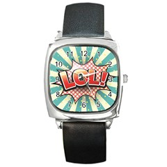 Lol Comic Speech Bubble  Vector Illustration Square Metal Watch by BangZart