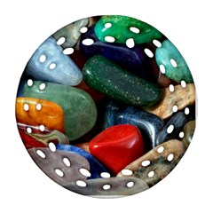 Stones Colors Pattern Pebbles Macro Rocks Ornament (round Filigree) by BangZart