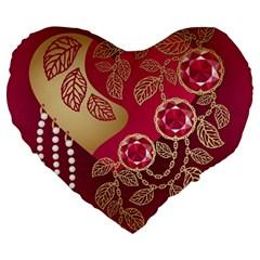 Love Heart Large 19  Premium Flano Heart Shape Cushions by BangZart