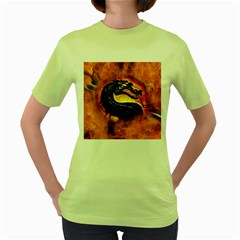 Dragon And Fire Women s Green T Shirt