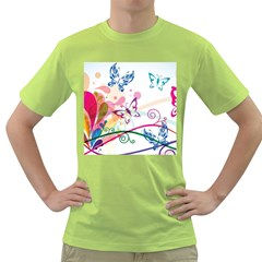 Butterfly Vector Art Green T Shirt