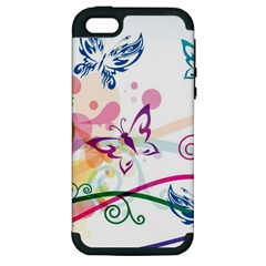 Butterfly Vector Art Apple Iphone 5 Hardshell Case (pc+silicone)