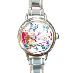 Butterfly Vector Art Round Italian Charm Watch