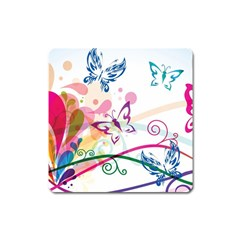 Butterfly Vector Art Square Magnet