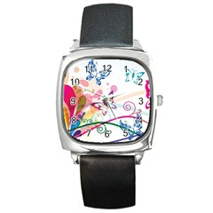 Butterfly Vector Art Square Metal Watch