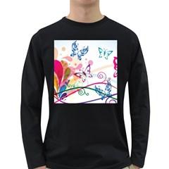 Butterfly Vector Art Long Sleeve Dark T Shirts