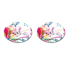 Butterfly Vector Art Cufflinks (oval)