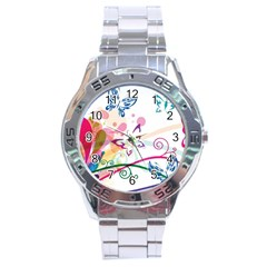 Butterfly Vector Art Stainless Steel Analogue Watch