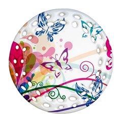Butterfly Vector Art Ornament (round Filigree)