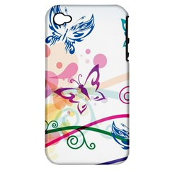 Butterfly Vector Art Apple Iphone 4/4s Hardshell Case (pc+silicone)