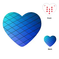 Blue Pattern Plain Cartoon Playing Cards (heart)  by BangZart