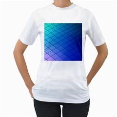 Blue Pattern Plain Cartoon Women s T Shirt (white)