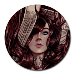Beautiful Women Fantasy Art Round Mousepads