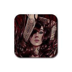 Beautiful Women Fantasy Art Rubber Square Coaster (4 Pack)  by BangZart