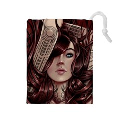 Beautiful Women Fantasy Art Drawstring Pouches (large)