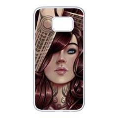 Beautiful Women Fantasy Art Samsung Galaxy S7 Edge White Seamless Case