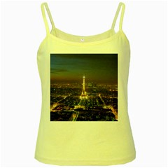 Paris At Night Yellow Spaghetti Tank