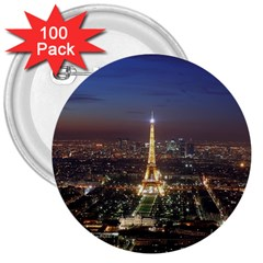 Paris At Night 3  Buttons (100 Pack)