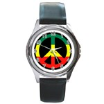 rasta peacesymbol Round Metal Watch