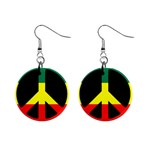 rasta peacesymbol 1  Button Earrings