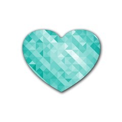 Bright Blue Turquoise Polygonal Background Rubber Coaster (heart)  by TastefulDesigns
