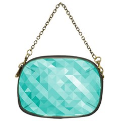 Bright Blue Turquoise Polygonal Background Chain Purses (one Side)