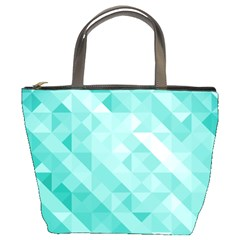 Bright Blue Turquoise Polygonal Background Bucket Bags