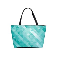 Bright Blue Turquoise Polygonal Background Shoulder Handbags