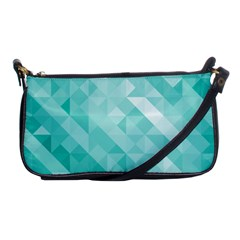Bright Blue Turquoise Polygonal Background Shoulder Clutch Bags