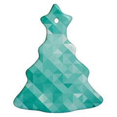 Bright Blue Turquoise Polygonal Background Ornament (christmas Tree)  by TastefulDesigns