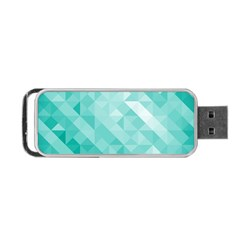 Bright Blue Turquoise Polygonal Background Portable Usb Flash (two Sides) by TastefulDesigns