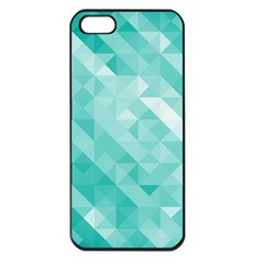 Bright Blue Turquoise Polygonal Background Apple Iphone 5 Seamless Case (black)