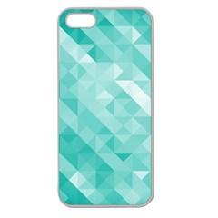 Bright Blue Turquoise Polygonal Background Apple Seamless Iphone 5 Case (clear)