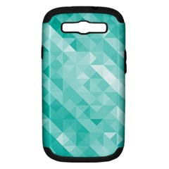 Bright Blue Turquoise Polygonal Background Samsung Galaxy S Iii Hardshell Case (pc+silicone) by TastefulDesigns