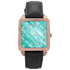 Bright Blue Turquoise Polygonal Background Rose Gold Leather Watch