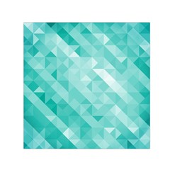 Bright Blue Turquoise Polygonal Background Small Satin Scarf (square)