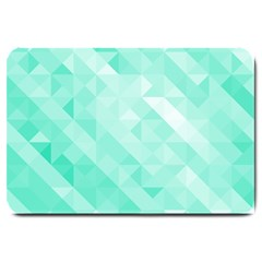 Bright Green Turquoise Geometric Background Large Doormat  by TastefulDesigns