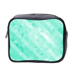 Bright Green Turquoise Geometric Background Mini Toiletries Bag 2 Side by TastefulDesigns