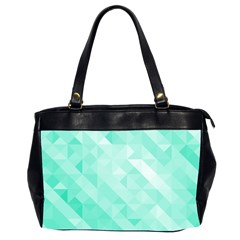 Bright Green Turquoise Geometric Background Office Handbags (2 Sides)  by TastefulDesigns
