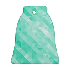Bright Green Turquoise Geometric Background Ornament (bell)